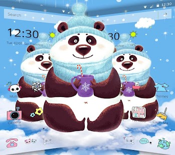 ???Winter Snow Kawaii Panda Theme - náhled