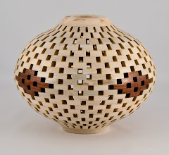 "Photo: Bob Grudberg - 8"" x 8"" open-segmented vessel [holly, walnut]"