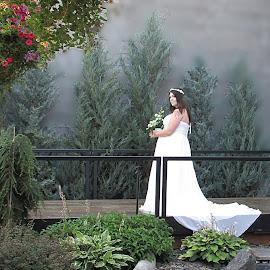 A Mystical Morning by Darlene Neisess - Wedding Bride ( stream, bridal, fog, wedding, gown, flowers, bride, garden )