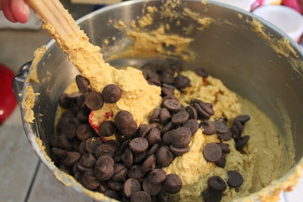 Fold the chocolate chips into the dough.