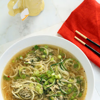 Spicy Ginger Scallion & Egg Drop Zucchini Noodle Bowl Recipe