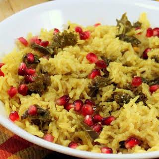 Vegan Rice Kale Pilaf - Rice Pulao/Pilaf with Kale, Cashews, Vegetables.