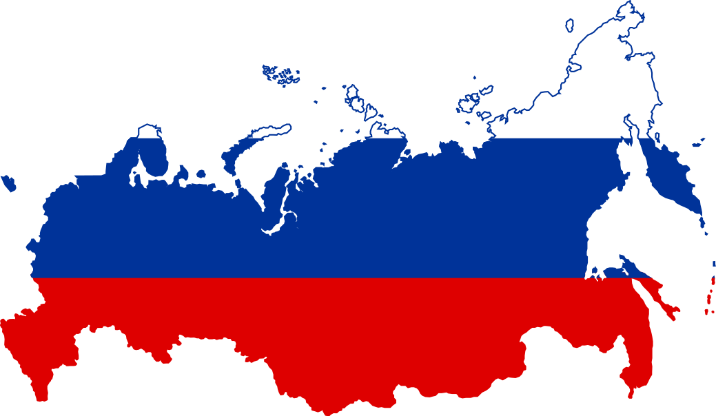 Russian map with flag