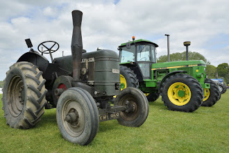 Photo: Old and new tractors. Field Marshall next to the younger John Deere.