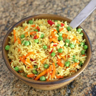 Baked Curry Rice With Peas.