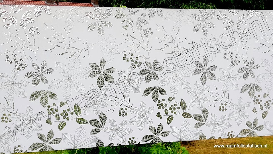 Statische raamfolie bladeren / bladmotieven wit 90cm x 1,5m