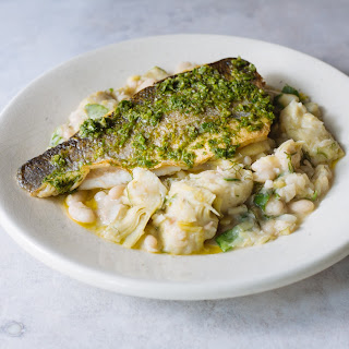 Pan-fried Haddock With Artichoke And Cannellini Beans.