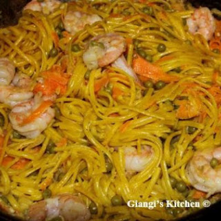 Linguine with Shrimp and Saffron Sauce.