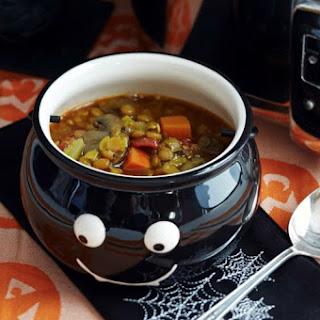 Slow Cooker Lentil, Kale, and Mushroom Soup.