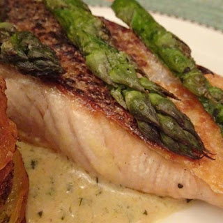 Crispy Skinned Salmon with a Creamy Herb Sauce.