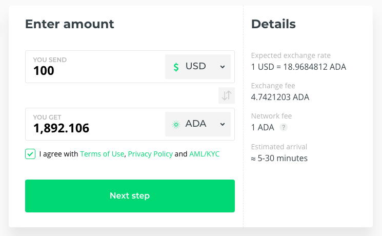 Buy ADA coin best exchange rate