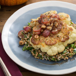 Roasted Cauliflower Steaks with Brown Butter-Grape Sauce & Farro
