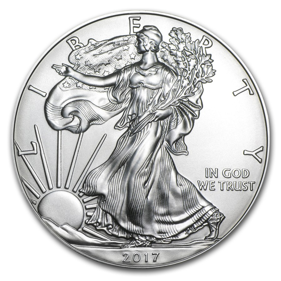 Front of US Silver Eagle 2017 coin