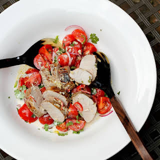 Grilled Pork Tenderloin with Tomato Salad and Coconut Sauce.