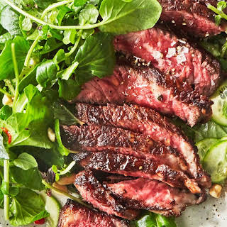 Steak with Watercress Salad and Chile-Lime Dressing.
