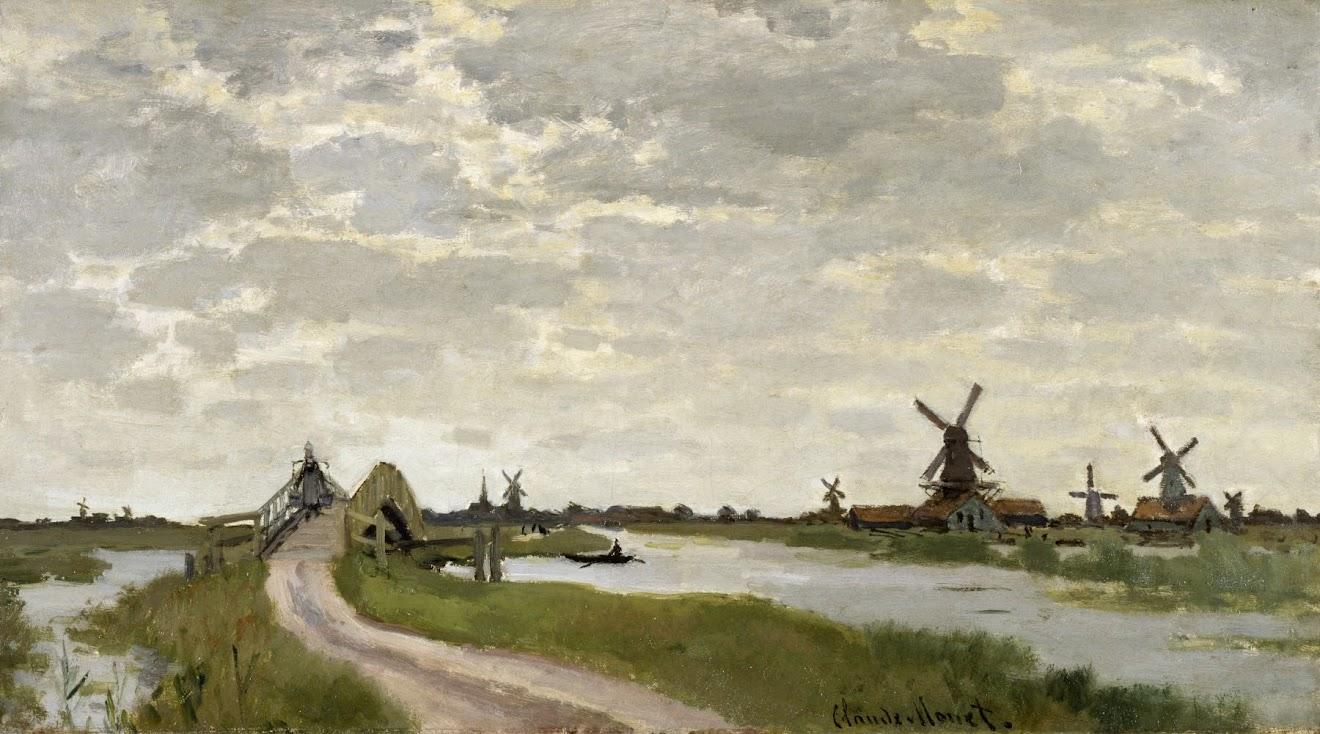 Windmills Near Zaandam by Claude Monet 1871.
