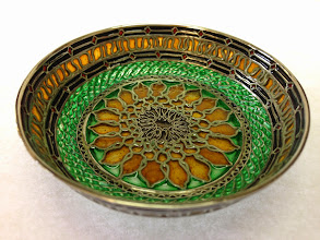 Photo: Plique-à-Jour Enamels by Diane Echnoz Almeyda - Sunflower (Vessel - Shallow Bowl Form) - Fine Silver, Plique-à-Jour Enamels - Approximate size 20mm (h) x 71mm (diam) - $2300.00 US