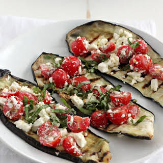 Grilled Eggplant with Tomatoes, Feta, and Basil.