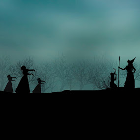dont curse me by Berril Pratama - Digital Art People ( haloween, habit, witch, siluet, night, silhoutte, people, culture )