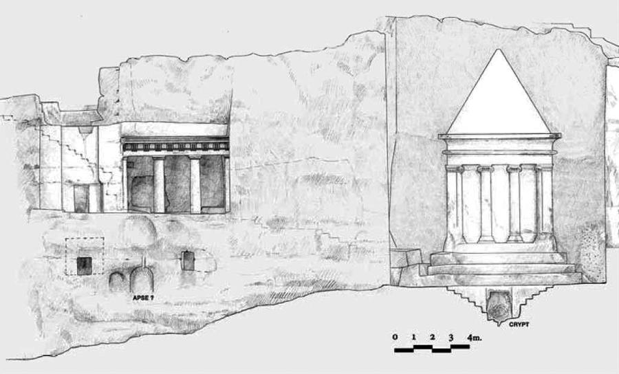 Схема гробницы Захарии и гробницы Бней Хазир в Кедронской долине в Иерусалиме.