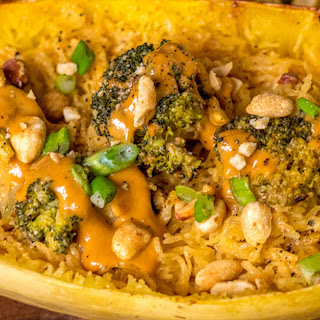 Thai Peanut Broccoli-Stuffed Spaghetti Squash.
