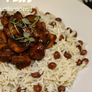 Rice & Peas with Jerk Mushrooms