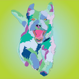 Doggy Joy by Jorge DeJesus - Illustration Animals ( dog illustration, art, dog portraits, dog playing, dog art, colorful )