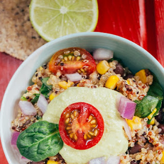 Southwestern Quinoa Chili with Avocado Sour Cream