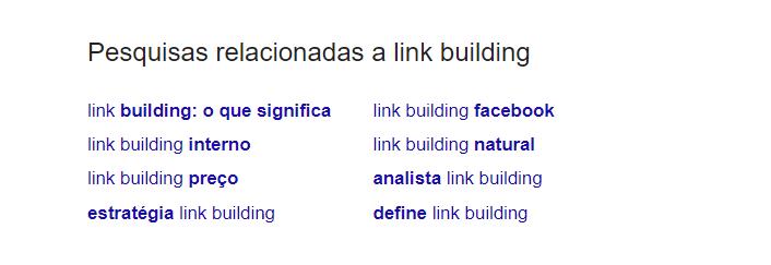 exemplo de resultados relacionados no fim da SERP do Google em uma busca de palavra-chave