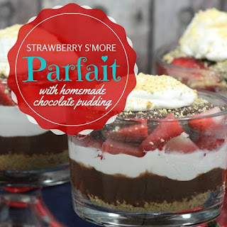 Strawberry Smore Parfait with Homemade Chocolate Pudding