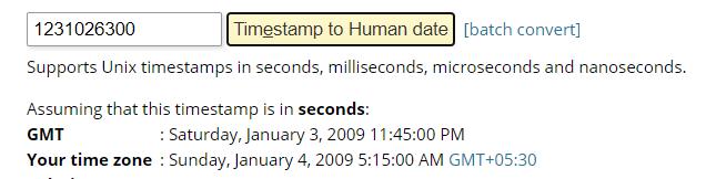 UNIX TIMESTAMP TO GMT TIME CONVERSION | blockchainblogging.com
