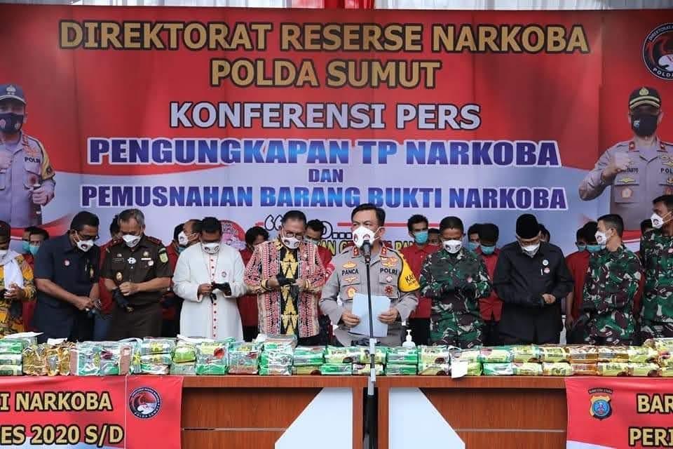 Ciduk 24 Tersangka , Polda Sumut Musnahkan 93.747 Gram Narkoba