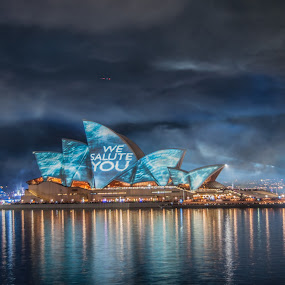 Salute by Carley Reed - City,  Street & Park  Skylines ( colour, salute, blue, reflection. fleet review, australia, navy, sydney )