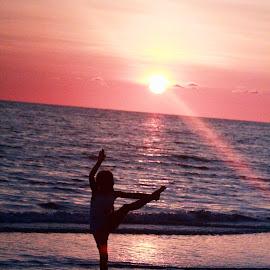 Danceing by Sonya Ungermann Ryan - Uncategorized All Uncategorized ( waves, sunset, summer, ocean, beach, dancer )
