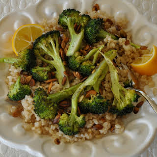 High Protein Roasted Broccoli & Pumpkin Seeds Over Brown Rice.