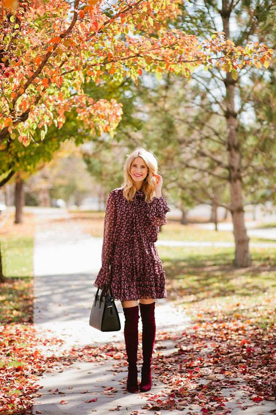 Dress with knee length boots