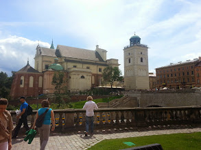 Photo: The church at one end of the old square from behind, alongside the outer wall of the old palace.
