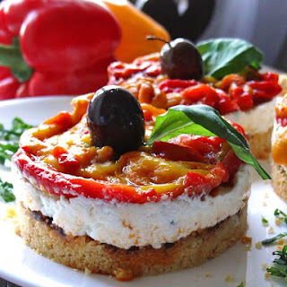 No Bake Goat's Cheese And Roasted Peppers Cheesecake.