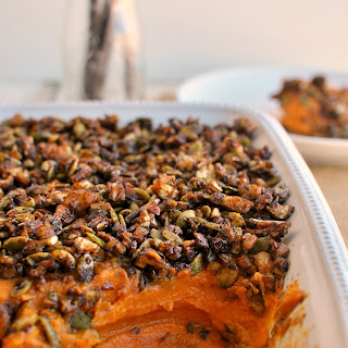 Sweet Potato Casserole with Molasses Candied Nut Crunch.
