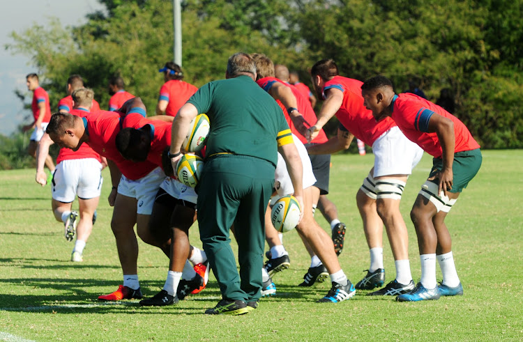 Scrums coach Matt Proudfoot leading a training session during the Springboks' training session at Fourways High School in Johannesburg in May 2017.