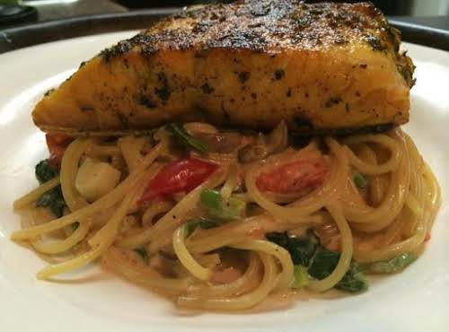 "Herb Crusted Salmon with Pasta Florentine ""Can't say which is the best -..."