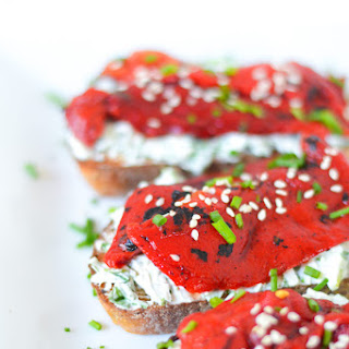 Fire Roasted Bell Pepper Toast w. Herb Goat Cheese.