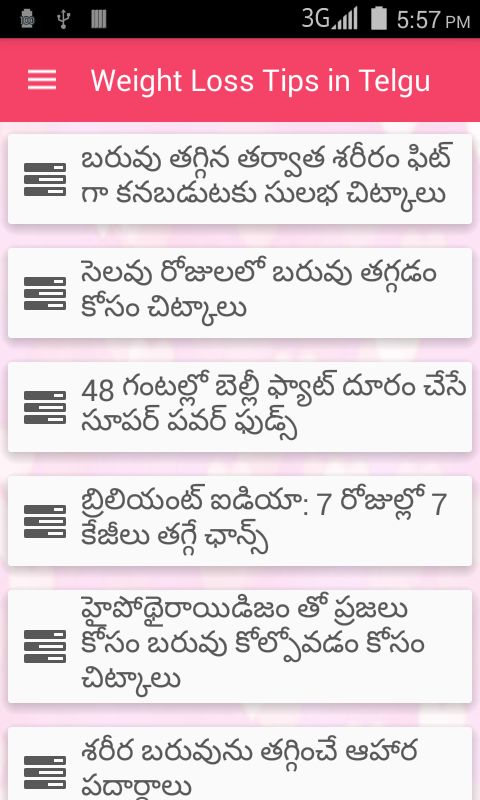 500 Weight Loss Tips Telugu - Android Apps on Google Play