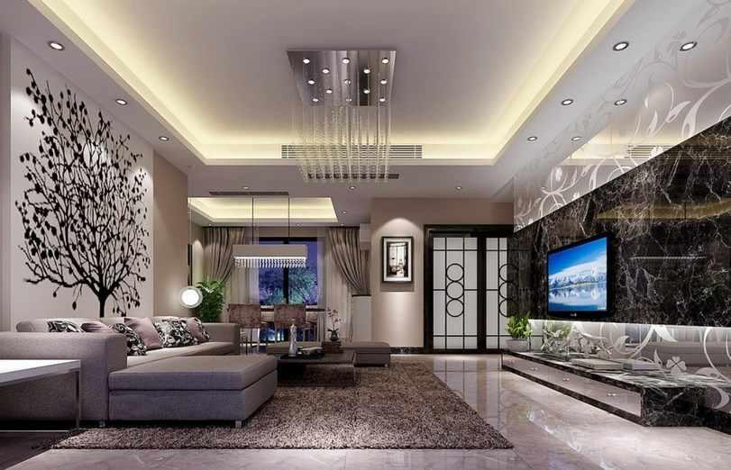 Ceiling Design Ideas view in gallery elegant ceiling and warm lighting gives this living space an immaculate appearance Gypsum Ceiling Design Ideas Screenshot