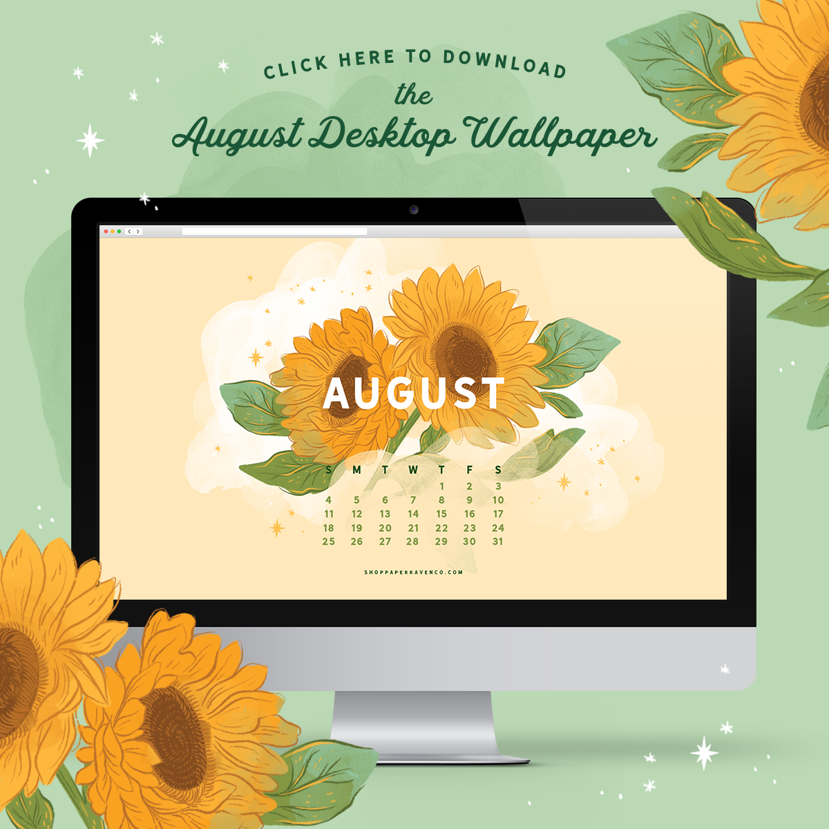 August 2019 Illustrated Desktop Wallpaper by Paper Raven Co. at www.ShopPaperRavenCo.com #dressyourtech #desktopwallpaper #desktopdownload
