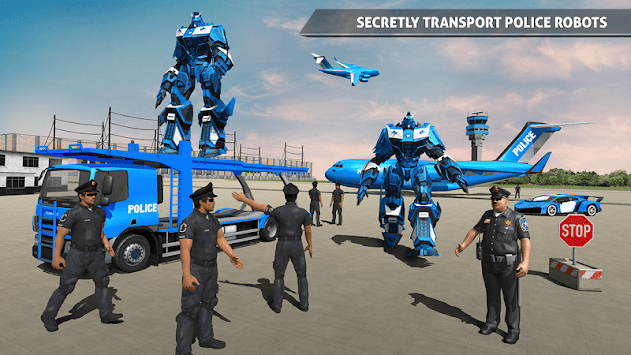 Police Robot Car Game – Police Plane Transport APK screenshot thumbnail 1