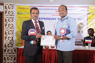 Photo: Prof. Dr. R. Ganesan, Chairman, NFED Issuing Certificate of Appreciation To Mr. K. Saju, Presidium Member of NFED at Entrepreneurs' Day Awards '2014