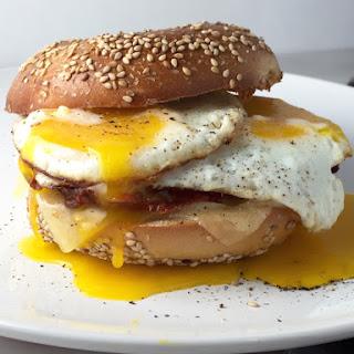 Bacon Lattice, Eggs & Cheddar Breakfast Sandwich