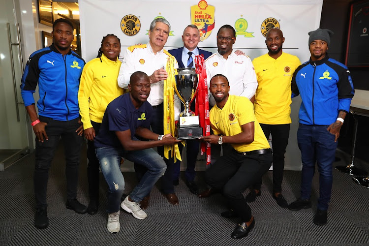 Sibusiso Vilakazi of Mamelodi Sundowns, Siphiwe Tshabalala of Kaizer Chiefs, Hlompho Kekana of Mamelodi Sundowns, Anton Niemann, Shell Downstream SA General Manager, Jacques Grobbelaar, CEO SMSA, Bernard Parker of Kaizer Chiefs, Hlomiphizwe Mtolo, Shell Companies South Africa Chairman, Ramahlwe Mphahlele of Kaizer Chiefs and George Lebese of Mamelodi Sundowns during the launch of the 2018 Shell Helix Ultra Cup presented by SMSA at FNB Stadium, Johannesburg on 28 May 2018.