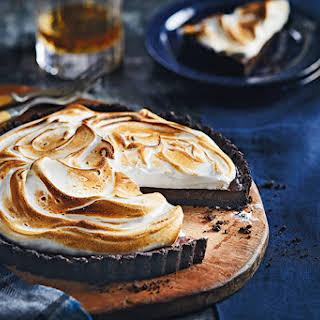 Chocolate Whiskey Tart With Meringue.